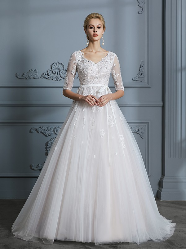 19c03c32 ... Ball Gown V-neck Court Train 1/2 Sleeves Lace Tulle Wedding Dresses ...
