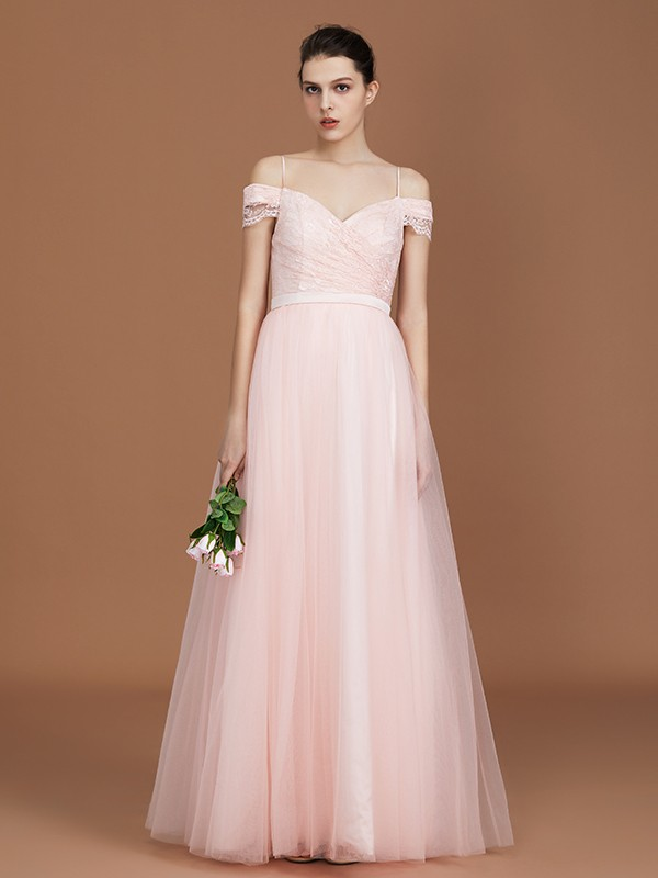 A-Line/Princess Short Sleeves Lace Spaghetti Straps Ruched Sweetheart Floor-Length Tulle Bridesmaid Dresses
