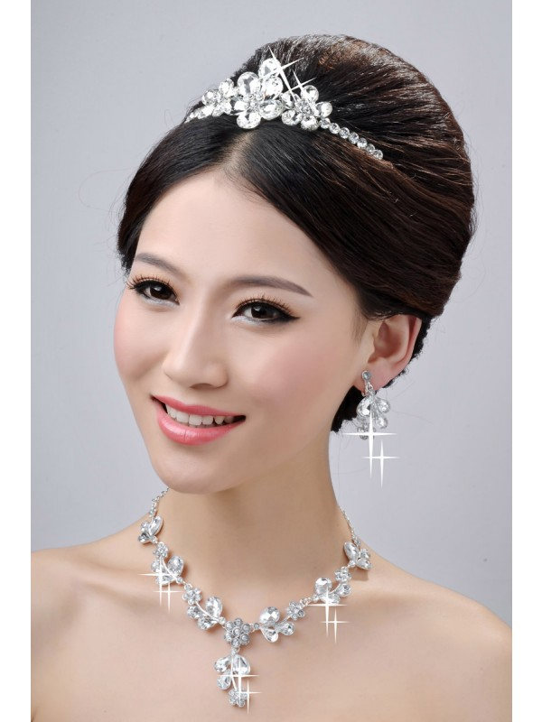 Awesome Alloy Clear Krystalls Flower Wedding Party Earrings Set