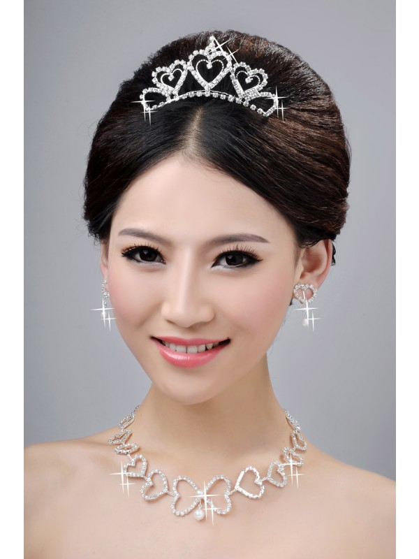Awesome Alloy Clear Krystalls Hearts Wedding Party Earrings Set