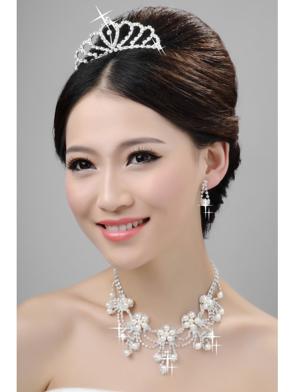 Elegant Alloy Clear Krystalls Wedding Party Earrings Set