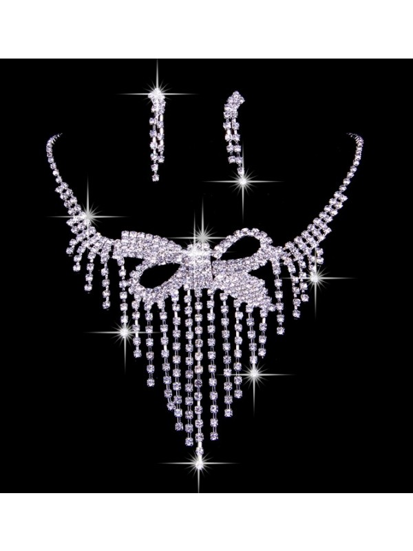 Elegant Czech Rhinestones Wedding Necklaces Earrings Set