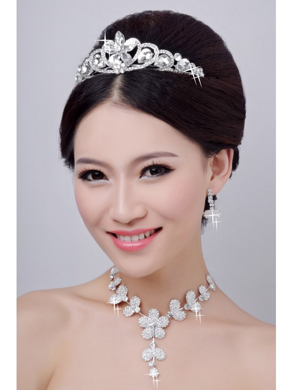Hot Sale Alloy Clear Krystalls Flower Wedding Party Earrings Set
