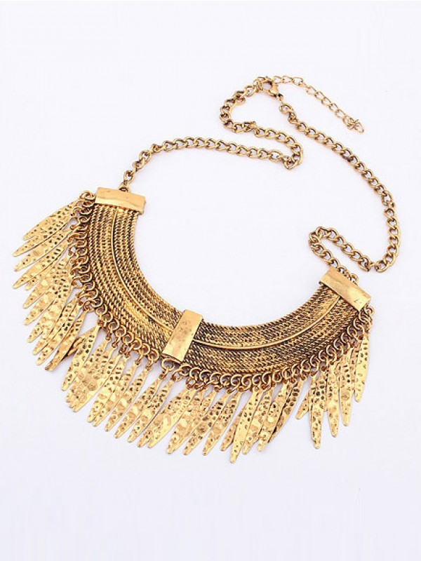 Korean version Retro Arcuated Willow pattern Water Drop Fashion Necklace