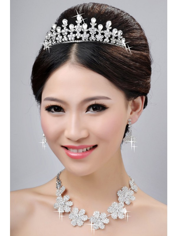 New Style Nice Alloy Clear Krystalls Flower Wedding Party Earrings Set