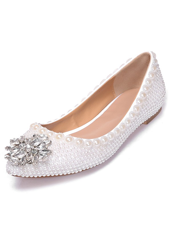Patent Leather Closed Toe Flat Heel With Pearl Swarovski Casual Flat Shoes