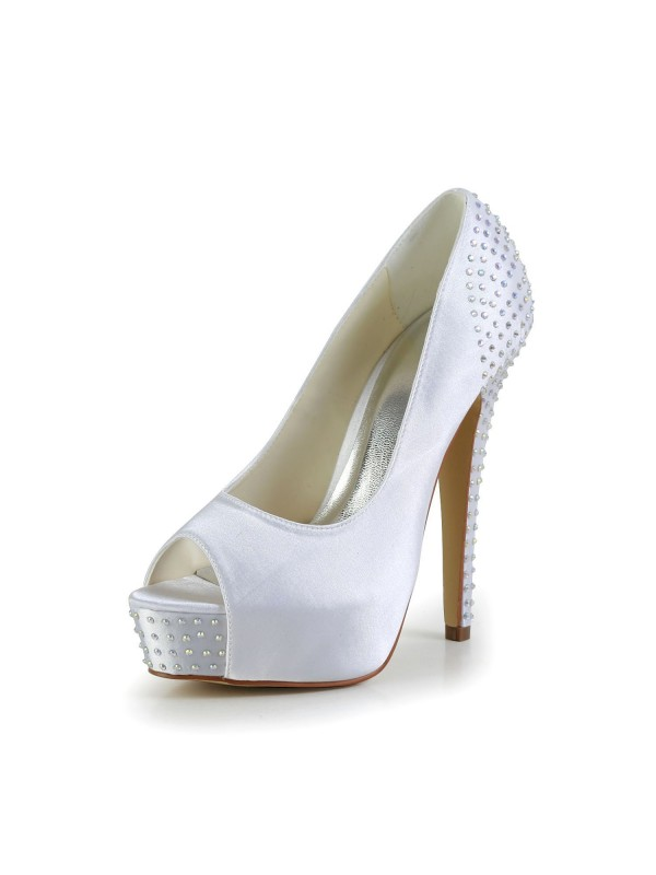 Silkesateng Stiletto Heel Peep Toe Platform Hvit Wedding Shoes With Swarovski