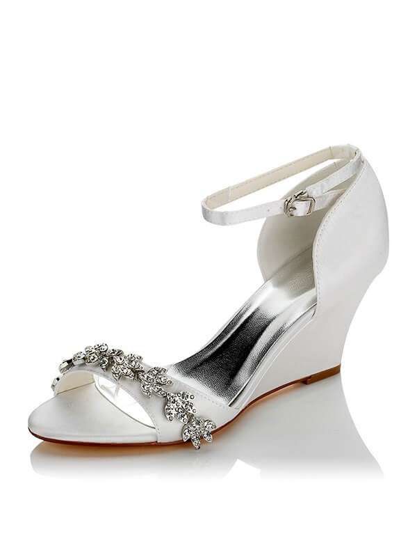 Silkesateng PU Peep Toe Wedge Heel Wedding Shoes