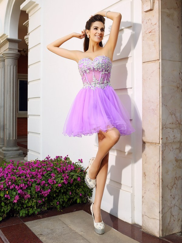 Fuksia Sweetheart Organza Kort/Mini Homecoming Kjoler