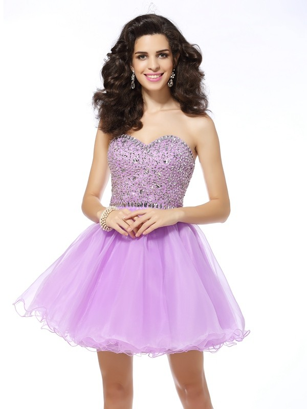 Organza Sweetheart Kort/Mini Homecoming Kjoler with Volanger