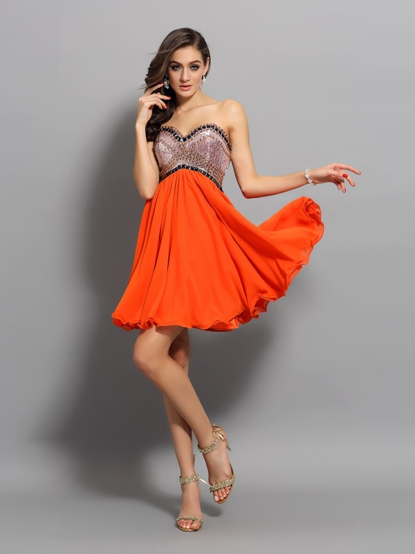 Oransje Sweetheart Organza Kort/Mini Homecoming Kjoler