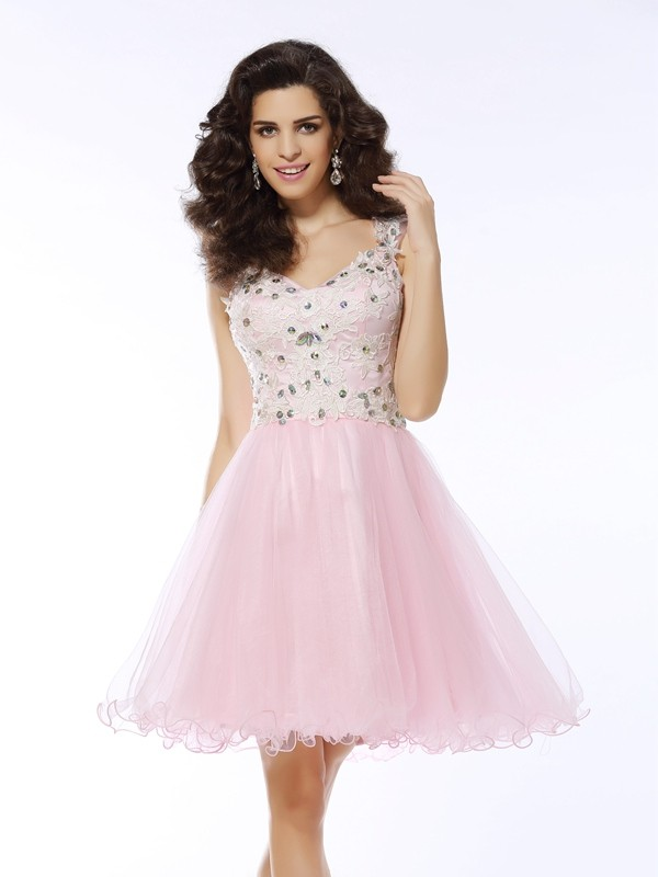 A-formet/Prinsesse Sweetheart Kort/Mini Rosa Homecoming Kjoler
