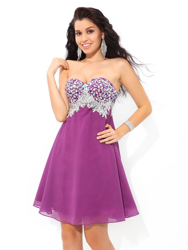 A-formet/Prinsesse Sweetheart Kort/Mini Lavendel Homecoming Kjoler