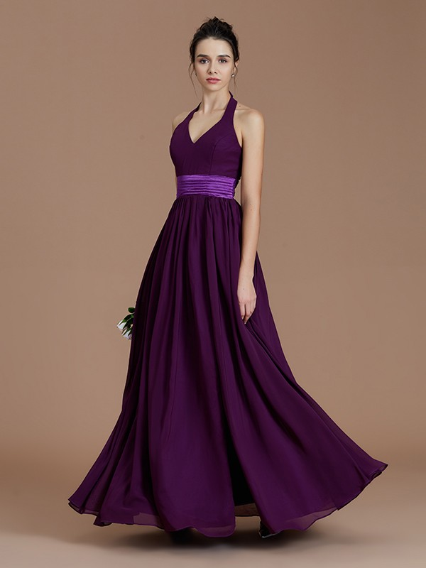 A-Line/Princess Halter Sleeveless Sash/Ribbon/Belt Floor-Length Chiffon Bridesmaid Dresses