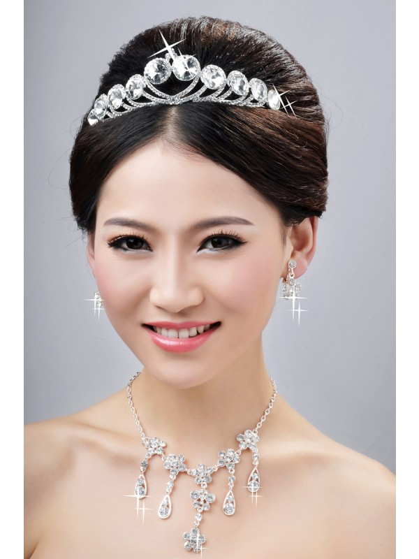 Elegant Alloy Clear Crystals Flower Wedding Headpieces Necklaces Earrings Set