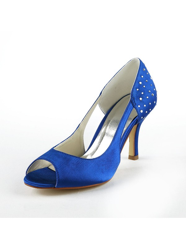 Gorgeous Silkesateng Stiletto Heel Peep Toe With Swarovski High Heels