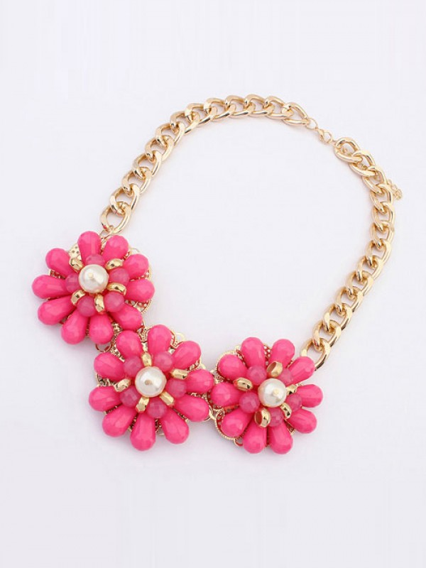 Occident Candy colors Fresh Big Flowers Fashion Necklace
