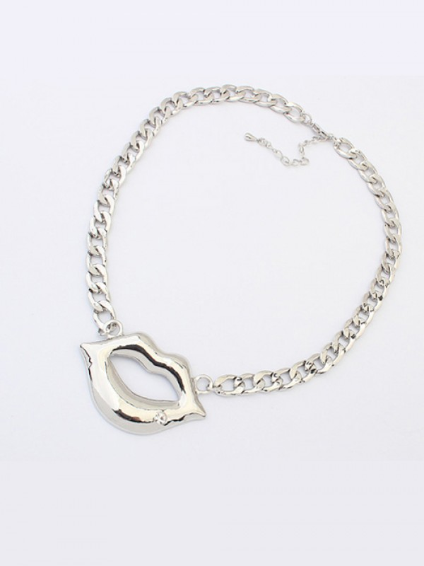 Occident Hyperbolic Flash Drilling Sexy Lip Print Fashion Necklace