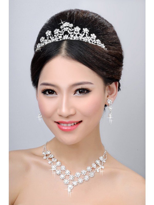 New Style Alloy Clear Krystalls Flower Wedding Party Earrings Set
