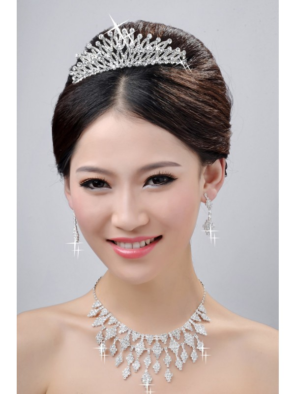 New Style Fashion Alloy Clear Krystalls Wedding Party Earrings Set