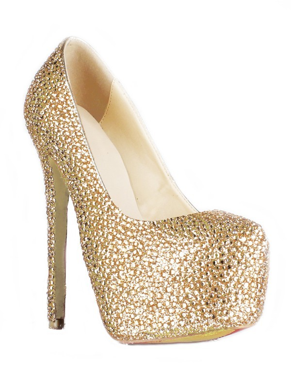 Sheepskin Stiletto Heel Closed Toe Platform With Swarovski High Heels