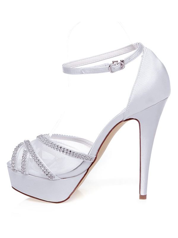 Silkesateng Peep Toe Stiletto Heel Swarovskis Wedding Shoes