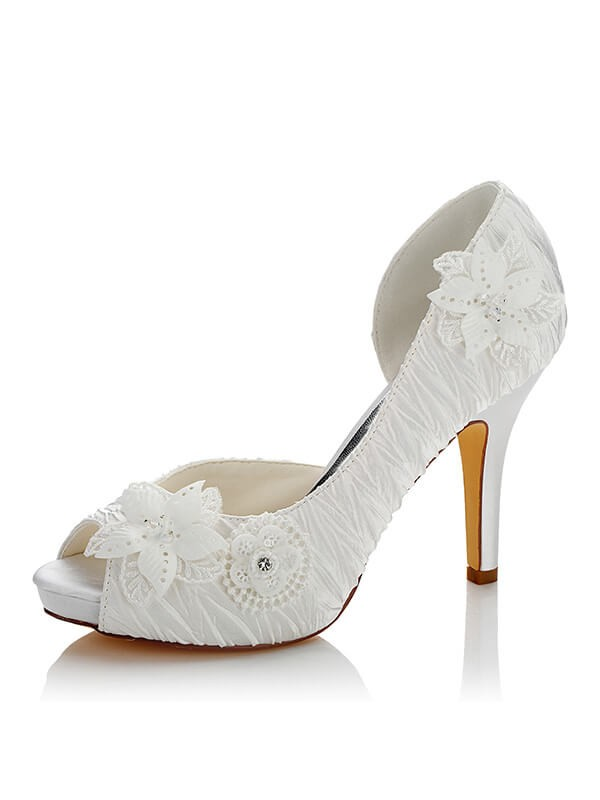 Silkesateng PU Peep Toe Stiletto Heel Wedding Shoes