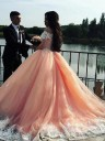 Ball Gown Pink Off-the-Shoulder Tulle Lace Prom Dresses