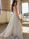 A-Line Silver Brush Train Tulle Beading Prom Dresses